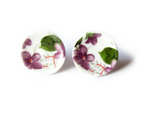 That Vintage - Tea Party Saucer Earrings - Lady Violet