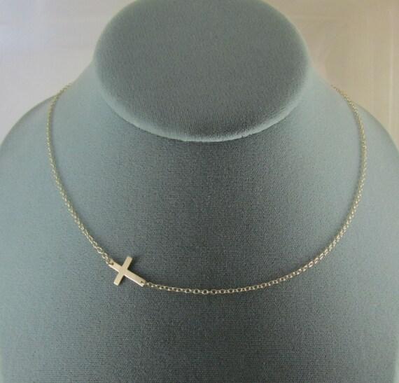 Sideways Gold Cross Necklace- Off Center
