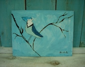 Stellar Jay Bird Original Acrylic Painting by 10 year old artist