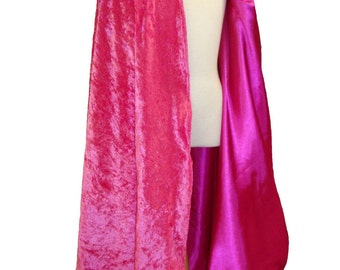 READY TO SHIP -   Magenta Velvet and Satin Reversible Child's Play Cloak