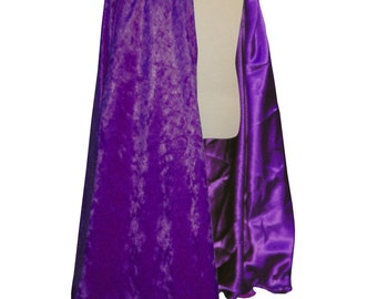 READY TO SHIP -   Royal Purple Velvet and Satin Reversible Child's Play Cloak