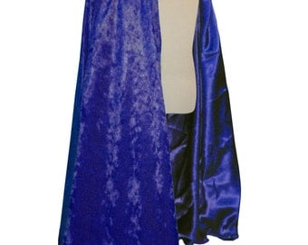 READY TO SHIP -   Royal Blue Velvet and Satin Reversible Child's Play Cloak