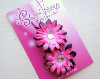 SHOP SPECIAL  - Set of 2 Mini Daisy Bling Clips - Hot Pink and Black
