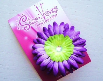 Tinkerbell Lime Green and Purple Gerbera Daisy Bling Hair Clip