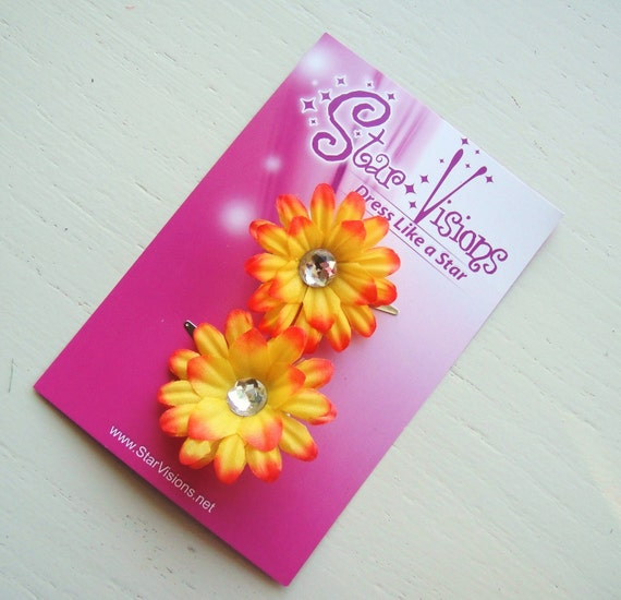 Set of 2 Bright Orange Mini Daisy Bling Hair Clips