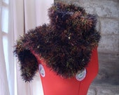 Sale item - Donner - Reindeer-inspired black and autumn-toned knit scarf with jingle bells