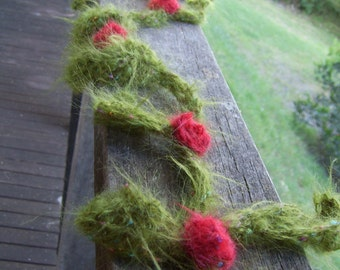 Rose Red - crochet mohair scarf made of flowers and leaves - made to order