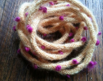 Butter yellow lariat with magenta French knots - made to order