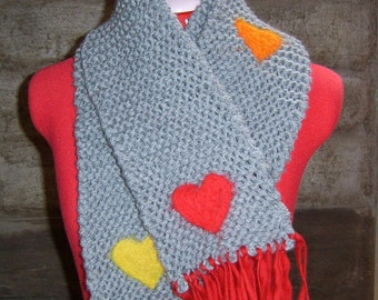 Skeeter - knit scarf, grey, felted with red, yellow and orange hearts - made to order