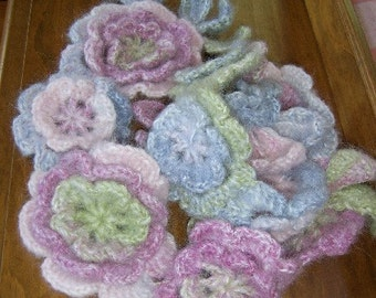 CassieMay - crochet scarf, soft multicoloured mohair flowers and leaves - made to order