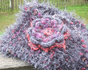 Carnival - charcoal knit scarf with red, mauve and candy highlights, with free, detachable flower brooch - made to order