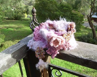 Megan - crochet flower scarf, in varying shades and textures - soft pink or choose your colour - made to order