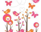 Mod Forest  Clip Art with Birds and Butterflies Orange and Hot Pink