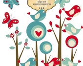 CLIP ART - Mod Forest with Birds and Butterflies commercial and personal use