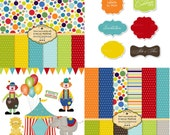 Circus Clip Art and Digital Paper set,  Clowns, Circus tent, Big Top, Circus Animals Balloons  limited commercial and personal use