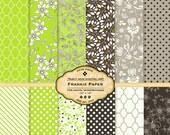 Lime Floral Digital Scrapbook Paper for invites, card making, digital scrapbooking Printable Download Lime Chocolate