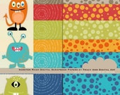 Monster Clip Art and Digital Papers-  Design Set -  Clip Art  and Papers.