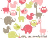 Animal Clip Art NEW  baby animal clipart -  giraffe elephant clip art  - Set 2