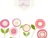 CLIP ART - Pink  Blooms,  commercial and personal use (3)