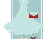 Digital elements - Blue Dress and accessories PNG for invites, wedding, scrapbooking, birthday - personal and commercial