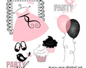 Party Girl Clip Art Soft Pink and Black Dress, cupcake, balloon party  Clip art