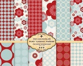 Digital Paper Pack for invites, card making, digital scrapbooking - Ruby Tuesday