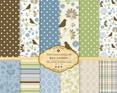 Bea Digital Scrapbook Paper Pack Dusty Blue, Green and Brown Digital Papers for scrapbooking, card making, photographers, photo cards