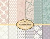 Bentleigh Digital Paper Pack for invites, card making, digital scrapbooking. Peach, Mauve,Cream Damask, Polka Dots, Modern patterns