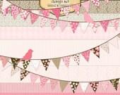 Designer digital paper and clip art set  - Banner and Birds (set 4)