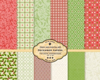 Digital Paper pack for invites, card making, digital scrapbooking - December
