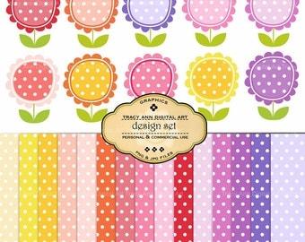 NEW Polka Dot Flower Clip Art and Paper Set