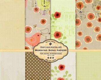 Spring Digital Scrapbook Paper Set -  Soft Greens Coral  Birds Shabby Vintage feel Morning Song