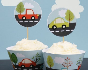 Zoom Car Cupcake Toppers and Wrappers - Printable