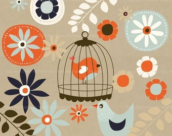 Flowers, Birds, Birdcage Clip Art for commercial and personal use.