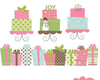 Pink Christmas Presents and Cakes - Clip art set -  Xmas2