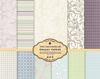 Dreamy Digital Papers for scrapbooking, card making, photographers, photo cards