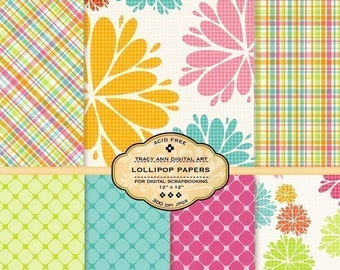 Lollipop  Digital Paper Pack for invites, card making, digital scrapbooking