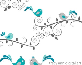 CLIP ART - Grey and Blue birds and swirls,  limited commercial and personal use