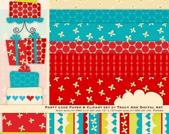 Party Cake Clip Art and Digital Paper Design Set -  Clip Art and Papers. (6)