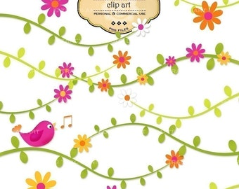 CLIP ART - Bird on vines for commercial and personal use. Scrapbooking, cards, invites and more.