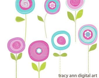 Flower Clip Art Summer Blooms, Purple and Aqua Modern Flower Clip Art  commercial and personal use (5)