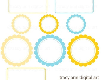 Clip Art Labels -  Annie Yellow and Blue Labels
