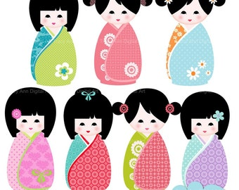 Kawaii Kokeshi Dolls Clip Art  for commercial and personal use. Invites, cards, scrapbooking.