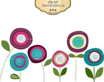 Clip Art  - Big Bold Blooms,  commercial and personal use (2)