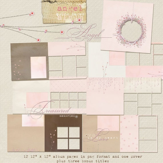 Winter Digital Scrapbook Album - 12 x 12 - Angel Pink Christmas