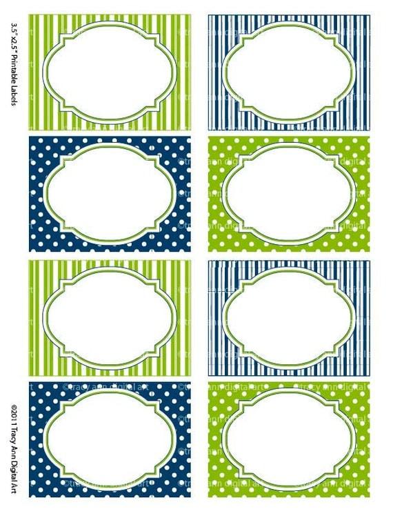Popolare Articoli simili a Blu e verde stampare i tuo etichette/schede per  PQ94