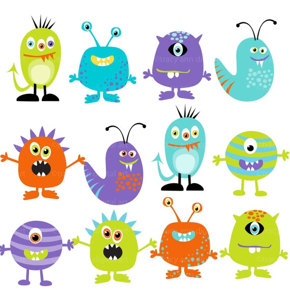 Bedrooms With Character To Match And Shape Your Kid S Personality: Monster Clipart Digital Monsters Set Of 12 Set 2