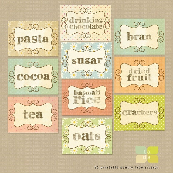 Pantry Kitchen Stickers Labels - print your own.
