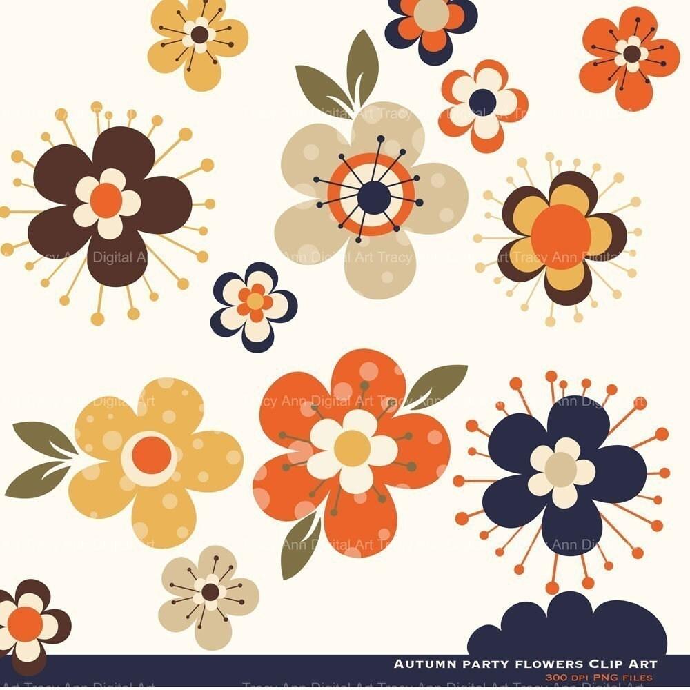 Fall Flower Clip Art Change by TracyAnnDigitalArt on Etsy