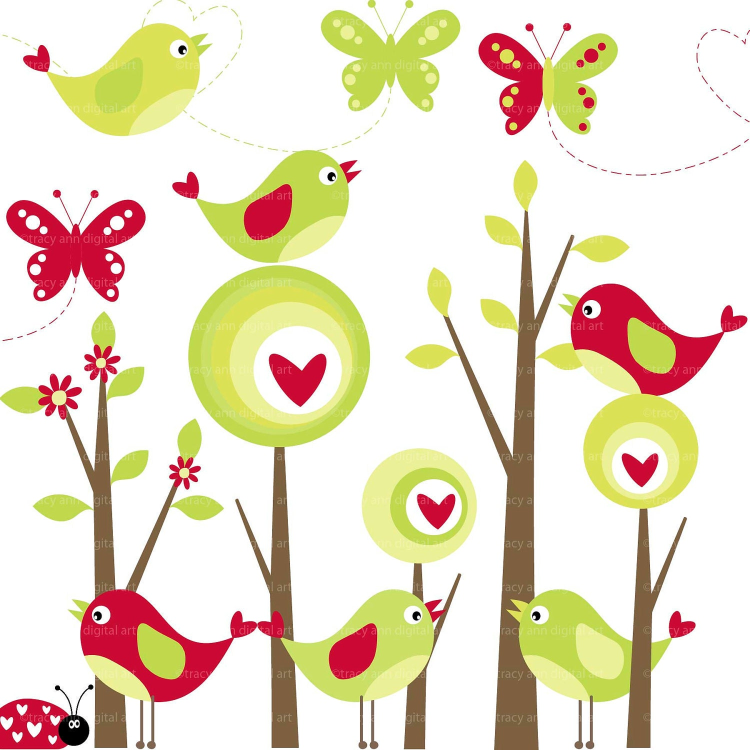 Modern Forest Clip Art Birds And By Tracyanndigitalart On Etsy